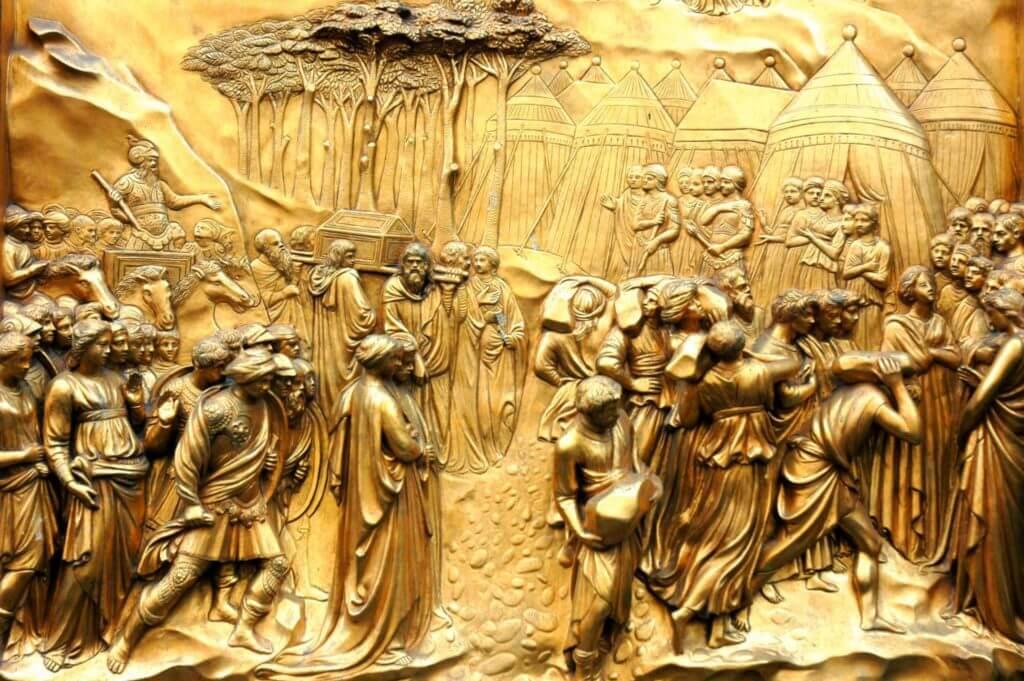 Florence: detail van de beroemde deuren van het Baptisterium